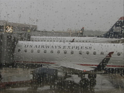 this clip is a a jet from inside looking through glass as heavy rain causes delays at ronald reagan washington national airport. you can see another... - ronald reagan washington national airport stock videos & royalty-free footage