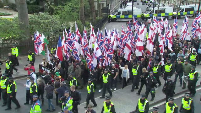 this clip may contain offensive language clean exterior shots of farright supporters from the english defence league and britain first groups... - protestor stock videos & royalty-free footage