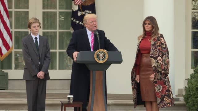 This file has President Trump Barron and Melania walking over to a table to actually pardon the turkey and take photos