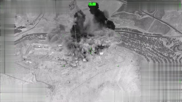 this footage provided by turkish armed forces shows pkk targets located on the sinjar mountain in northern iraq were hit by turkish security forces... - sinjar mountains stock videos & royalty-free footage