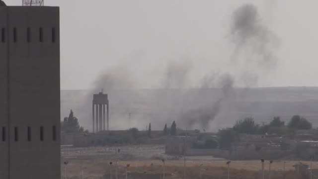 this footage taken from ceylanpinar district in turkey's border province of sanliurfa on october 13 2019 shows terrorist positions in northern... - siria video stock e b–roll