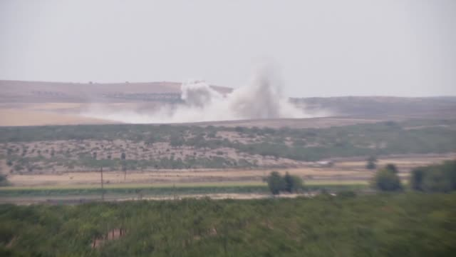 This footage taken from Turkey's Gaziantep province shows that improvised explosive devices are destroyed by the Turkish army near the Karkamis...