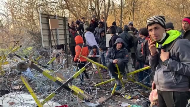 this footage taken from turkey's northwestern edirne province on march 02 2020 shows migrants waiting between turkey's pazarkule and greece's... - greece stock videos & royalty-free footage