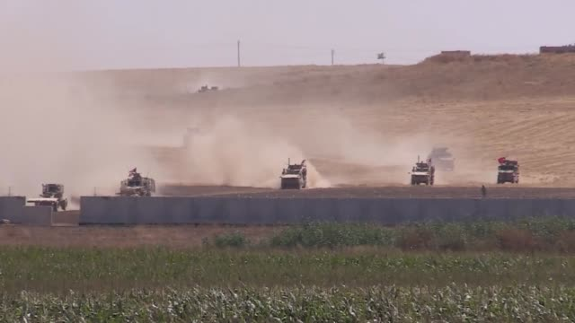 this footage taken from turkey's southeastern sanliurfa province on september 08, 2019 shows turkish and us military vehicles leaving the east of... - national security agency usa stock videos & royalty-free footage