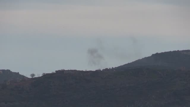 This footage taken from Turkey's southern Kilis province on the Syrian border shows Turkish Army shelling on PYD/PKK targets in Syria's Afrin within...