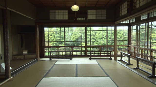 "this is a house of denemon ito known as ""king of coal mine in chikuhoarea"" and his wife byakuren yanagiwara a famous poet this house is registered as... - tatami mat stock videos and b-roll footage"