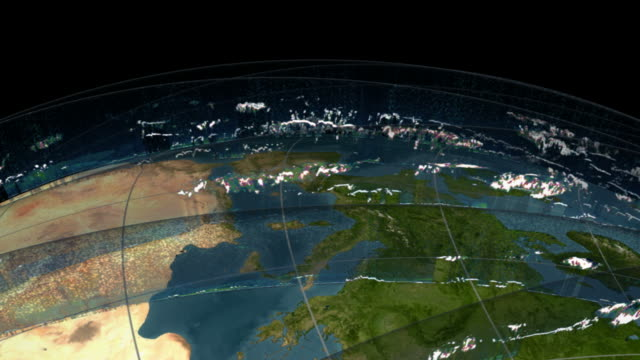 this is an animation showing data from icesats geoscience laser altimeter system (glas). - cloud computing stock-videos und b-roll-filmmaterial