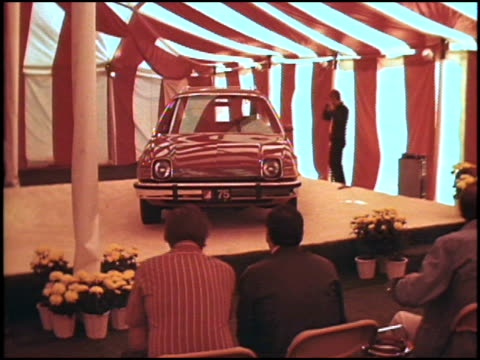 this is raw footage of one of several press events that american motors conducted for the introduction of the pacer in 1975 journalists enter a... - riverside california stock videos and b-roll footage