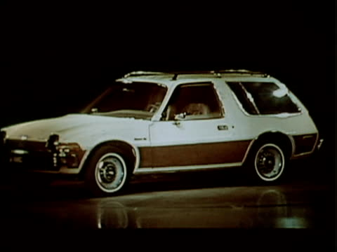 this kinescope is from a 1977 amc industrial show in which the pacer station wagon was introduced to dealers. the car drives up a ramp onto the stage... - ugliness stock videos & royalty-free footage