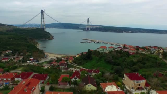 this montage shows construction process of yavuz sultan selim bridge, the third bridge over the bosphorus, in istanbul, turkey on march 06, 2016. the... - yavuz sultan selim bridge stock videos & royalty-free footage