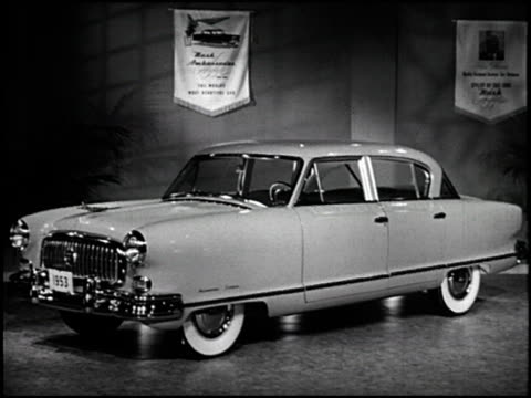 stockvideo's en b-roll-footage met / this nash marketing short promotes the company's association with italian car designer pinin farina / many beauty shot of the 1953 nash ambassador... - bumper