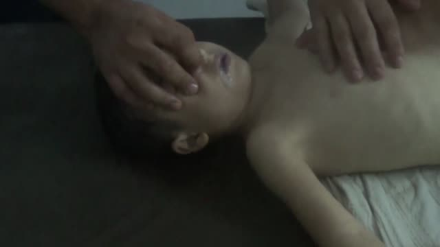 This new footage dated on August 21 2013 shows victims of chemical attack occurred in Ghouta Syria during the Syrian Civil War in the early hours of...