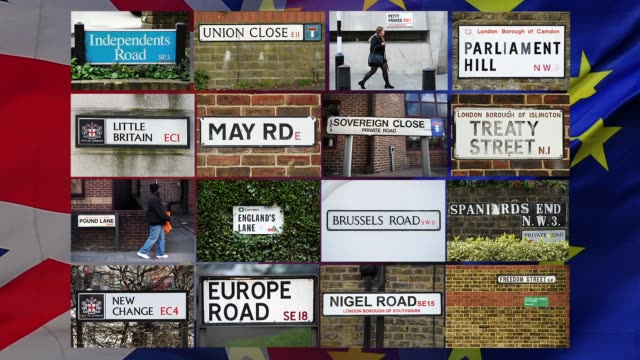 vidéos et rushes de this photo illustration shows road signs around central london that have names associated with the brexit process british prime minister theresa may... - ming