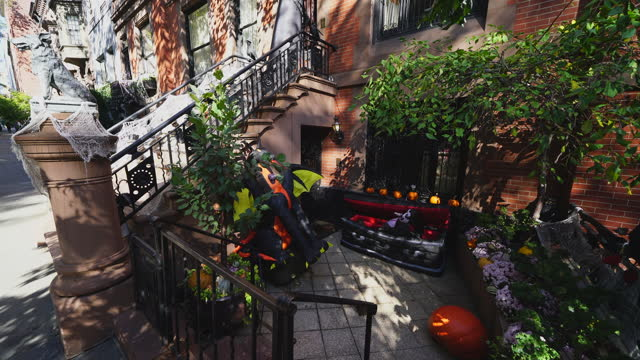 stockvideo's en b-roll-footage met this place is one of most popular halloween decorations in upper east manhattan area. people take photographs and enjoy to watch the decoration. - graaf dracula
