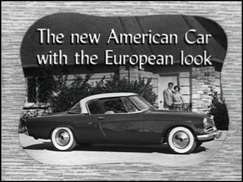 """this rare 20-second vintage tv commercial promotes the studebaker starliner coupe: """"the american car with the european look!"""" 1953 studebaker tv... - south bend indiana stock videos & royalty-free footage"""