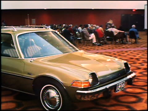 this rough footage shows amc executives debuting the newfor1975 pacer to the business and automotive press at the canyon hotel in palm springs... - curious cumulus productions stock videos and b-roll footage