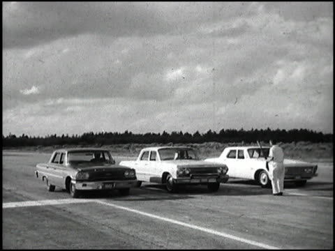 this short montage is essentially a drag race between a 1963 chevrolet impala and a plymouth valiant and ford fairlane it's a comparison test between... - curious cumulus productions stock videos and b-roll footage