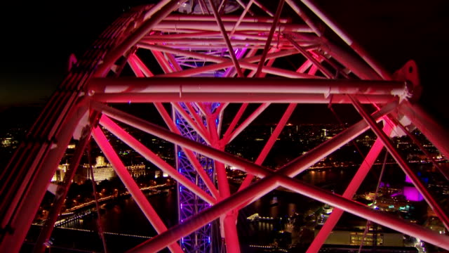 this timelapse takes place at night on the london eye on the south bank of the river thamesthis shot shows parts of the metalwork passing through... - metalwork stock videos and b-roll footage