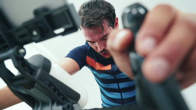 this training session is so intense! - exercise bike stock videos & royalty-free footage