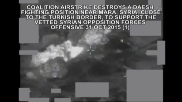 this video published by coalition forces shows that footage of air strikes by turkish and us aircraft in syria against daesh militants at areas of... - isis stock-videos und b-roll-filmmaterial