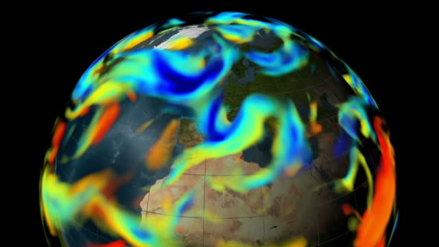 stockvideo's en b-roll-footage met this visualization shows data from a global atmospheric assimilation model for august 2005. - meteorologie
