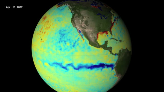 This visualization shows the 2007 La Nina event in the Pacific Ocean.