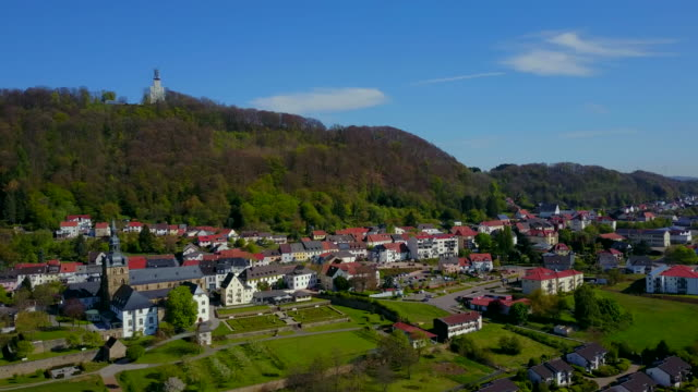 Tholey with Church and Abbey of St. Mauritius and Schaumberg Hill, District of St. Wendel, Saarland, Germany