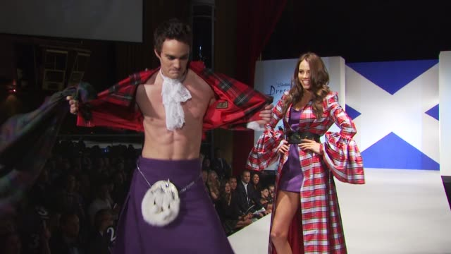 thom evans and model walk the runway at the 8th annual 'dressed to kilt' charity fashion show at new york ny - dressed to kilt stock videos & royalty-free footage