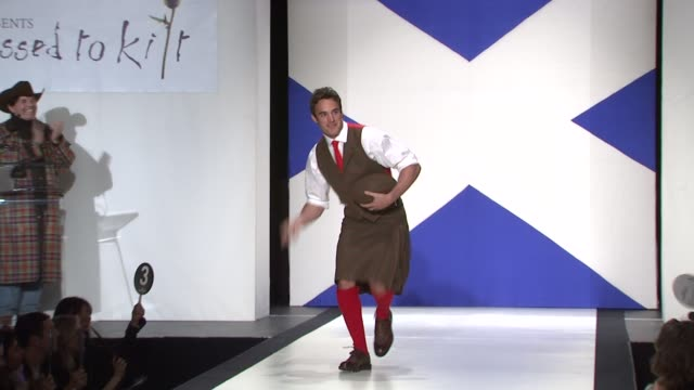 thom evans at the 9th annual dressed to kilt charity fashion show at new york ny. - kilt stock videos & royalty-free footage