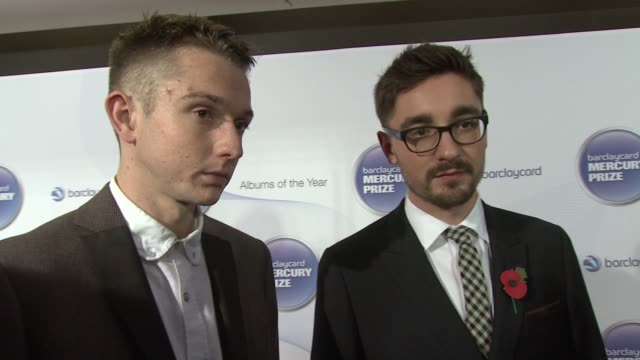 thom green and gus unger-hamilton of alt j on their outfit, on being at the mercury prize, on the shortlist, on how they feel and on the their album... - mercury music prize stock-videos und b-roll-filmmaterial