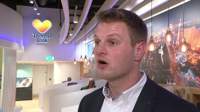 Thomas Cook charges for sun lounger booking ENGLAND London INT Jamie Queen interview SOT