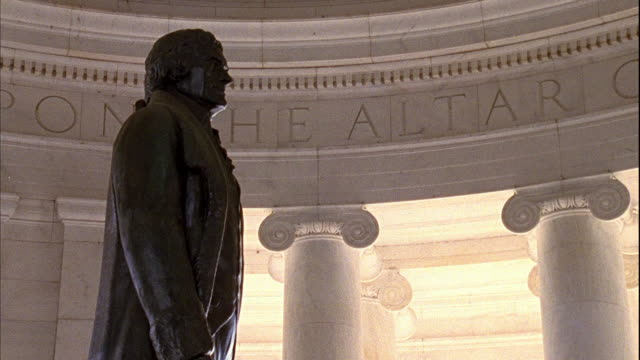 thomas jefferson memorial statue under portico founding father liberty 3rd president author republicanism - thomas jefferson stock videos & royalty-free footage