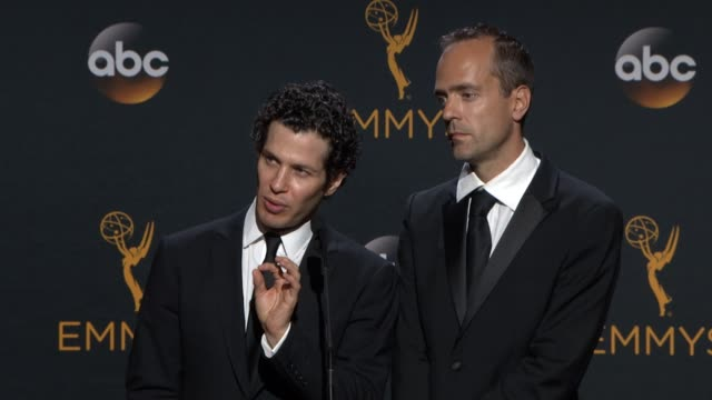 INTERVIEW Thomas Kail Alex Rudzinski at 68th Annual Primetime Emmy Awards Press Room in Los Angeles CA