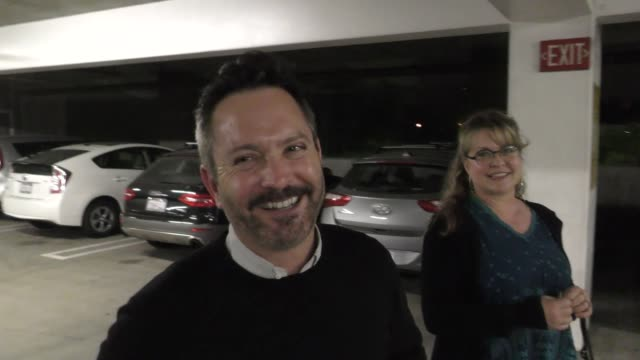 thomas lennon clowns around after catching a star is born with wife jenny at arclight cinemas in hollywood in celebrity sightings in los angeles - arclight cinemas hollywood stock videos & royalty-free footage