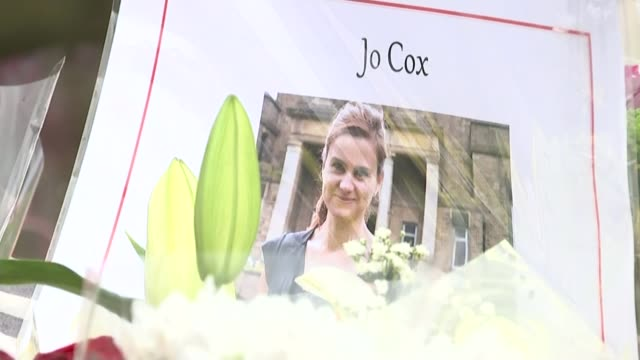 thomas mair jailed for 'terrorist' murder of mp jo cox june 2016 floral tributes laid in birstal town square - thomas mair stock videos and b-roll footage