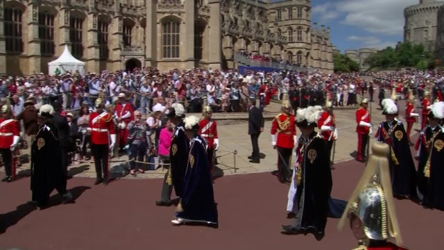 Thomas Markle gives interview on Prince Harry's political views ENGLAND Berkshire Windsor Windsor Castle EXT Knights of the Order of the Garter along...