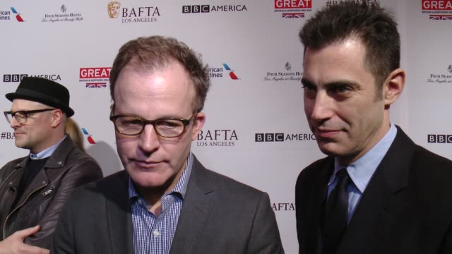 interview thomas mccarthy and josh singer on being at the event and on being nominees at the bafta los angeles awards season tea party at four... - tea party stock videos and b-roll footage