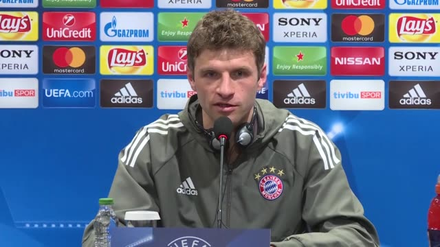 Thomas Muller of FC Bayern Munich attends a press conference ahead of the UEFA Champions League round 16 return match between Besiktas and Bayern...