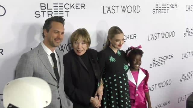 Thomas Sadoski Shirley MacLaine Amanda Seyfried AnnJewel Lee Dixon at the Premiere Of Bleecker Street Media's 'The Last Word' Red Carpet on March 01...