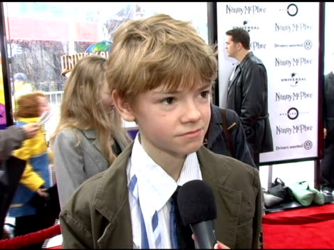 thomas sangster on his fan base, on his character simon, on playing simon vs other roles he's had at the 'nanny mcphee' us premiere at universal... - ユニバーサルシティ点の映像素材/bロール