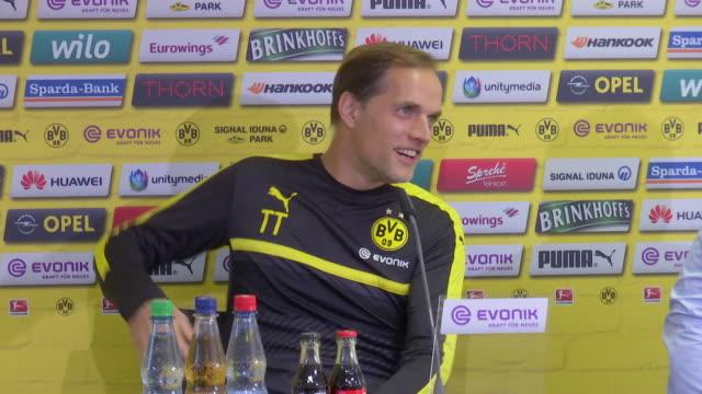 Thomas Tuchel of Borussia Dortmund attends a Press Conference