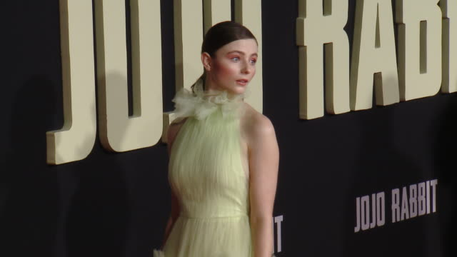 """thomasin mckenzie at the """"jojo rabbit"""" los angeles premiere presented by fox searchlight pictures in los angeles ca - fox searchlight pictures stock videos & royalty-free footage"""