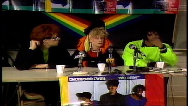 Thompson Twins discussing writing a song and in order to produce a video for it and the concept of music video