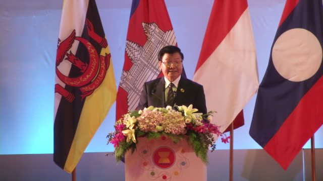 thongloun sisoulith lao prime minister speaks during opening ceremonies of the association of southeast asian nations summit the laotian capital... - association of southeast asian nations stock videos & royalty-free footage