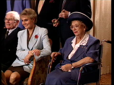 thora hird funeral; lib hird sitting at photocall - thora hird stock videos & royalty-free footage