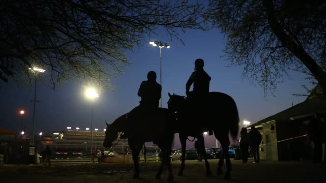 thoroughbred racehorses gallop around the track during morning workouts on the eve of the running of the 141st kentucky derby at churchill downs... - horseshoe stock videos and b-roll footage