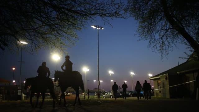 vídeos y material grabado en eventos de stock de thoroughbred racehorses gallop around the track during morning workouts on the eve of the running of the 141st kentucky derby at churchill downs... - apuestas deportivas