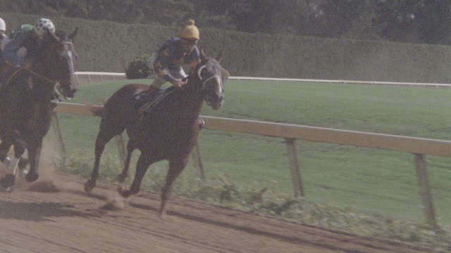 thoroughbreds round the bend and race down the homestretch of a racetrack in slow motion. - horse racing stock videos & royalty-free footage