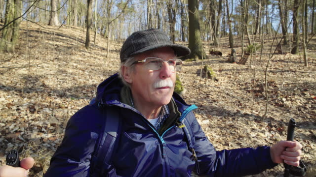 thoughtful elderly hiker hiking at forest - distrarre lo sguardo video stock e b–roll