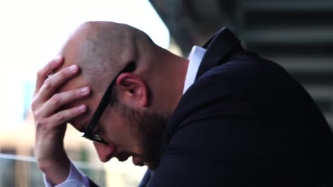 thoughtful man stressed looking away - sadness stock videos & royalty-free footage